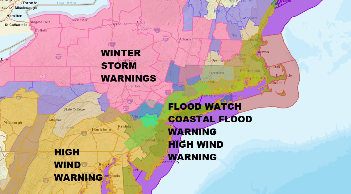 Noreaster Underway National Weather Service Snow Forecast Maps ...