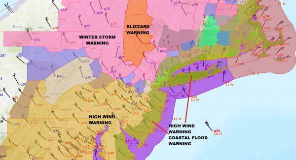 Blizzard Warning NE Pennsylvania Catskills JFK Gusting 63 MPH