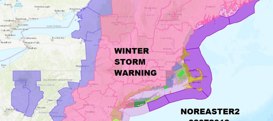 Winter Storm Warnings Eastern Pennsylvania To Southern New England Radars Revving Up