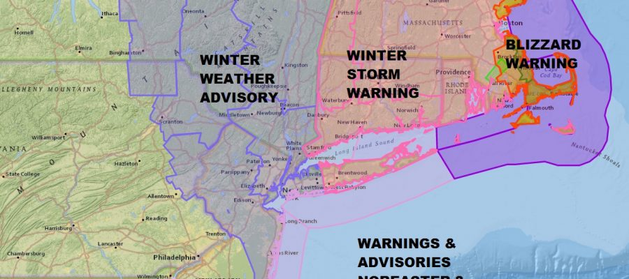 Winter Storm Warnings East of NYC Winter Weather Advisory West & North