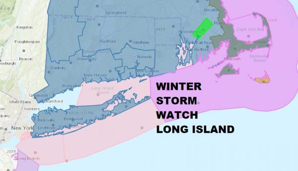 Winter Storm Watch Long Island Southern New England Snow Monday Night