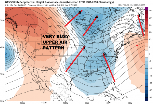 Busy Upper Air Pattern Next Several Days Rain Friday Cold Sunday