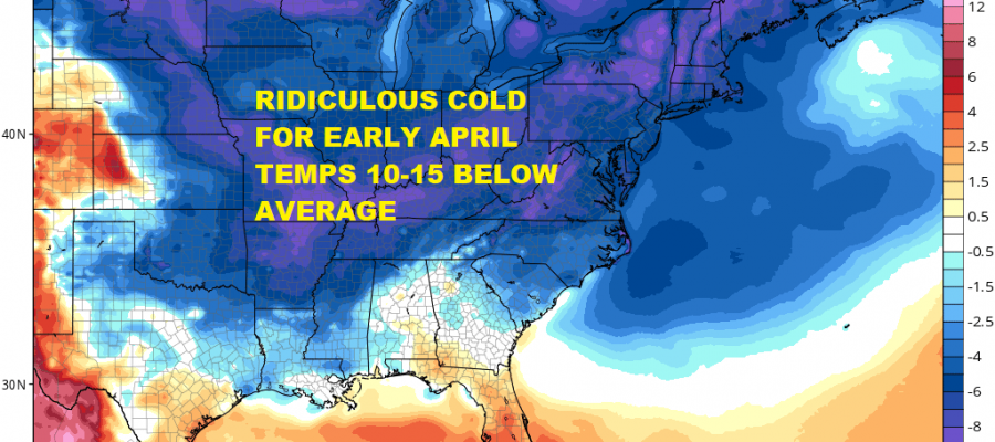 Coastal Storm Drags Cold Air Mass Southward Sunday Monday