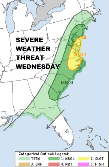 Severe Weather Threat Wednesday New Jersey Southward