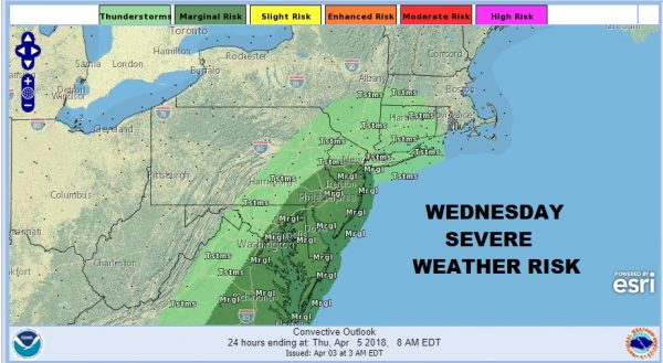 Severe Weather Risk New Jersey Southward  Wednesday