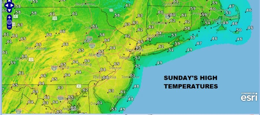 Sunday Monday Sunshine Spring 60s Tuesday Clouds Rain