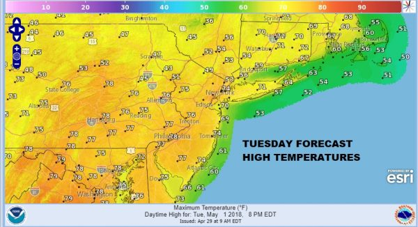 May Begins 70s Sunshine 80s Wednesday Thursday Very Chilly Sunday Monday Before Warmer Air Arrives TUESDAY FORECAST HIGH TEMPERTURES