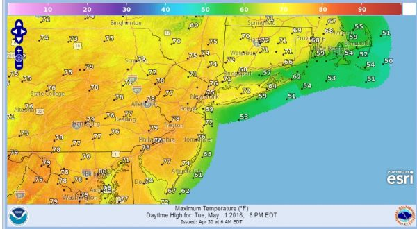 Chilly Monday Warmer Air Moving East Tuesday Through Friday