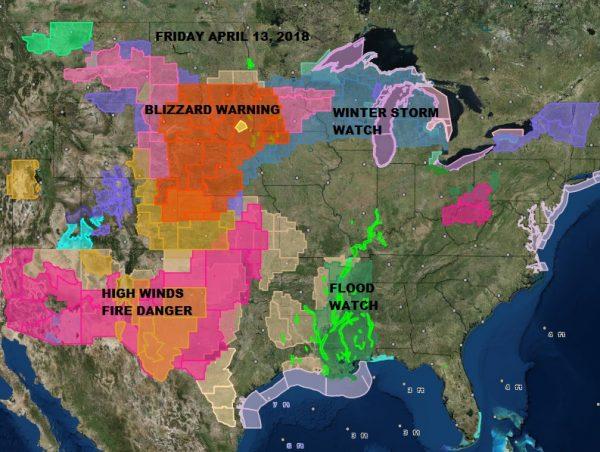 Major Spring Storm Blizzard Plains Severe Weather Rain Here Sunday Monday