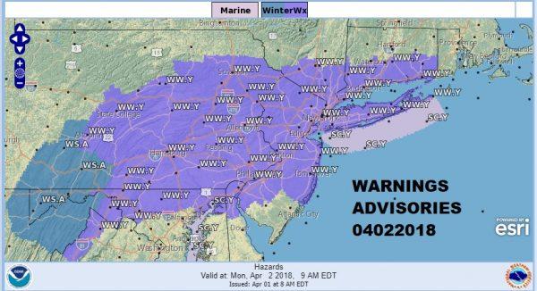 Winter Weather Advisory Monday Morning Snow Forecasts 04022018