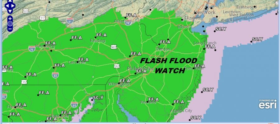 Severe Thunderstorm Threat Flash Flood Watch New Jersey Pennsylvania