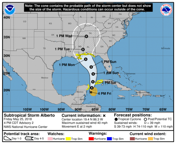 Alberto Heading North Flood Watches Florida to Louisiana