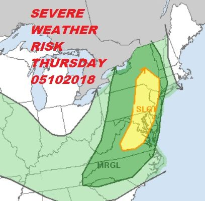 Severe Weather Risk This Afternoon Evening Eastern PA New Jersey Hudson Valley Thunderstorms Late Today Mother's Day Weekend Sinking Fast