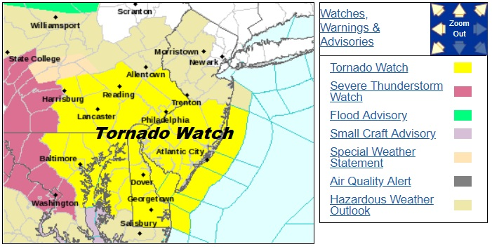 Tornado Watch Central & South Jersey Much of Southeastern Pennsylvania