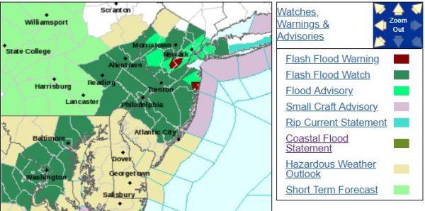 Flash Flooding Across Central NJ Heavy Downpours Elsewhere