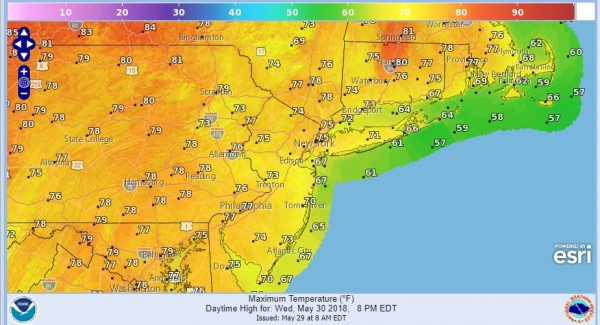 Very Warm Tuesday Onshore Flow Develops Wednesday Thursday