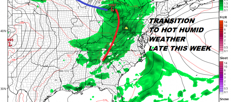 Scattered Heavy Thunderstorms Moving East Less Humid Monday