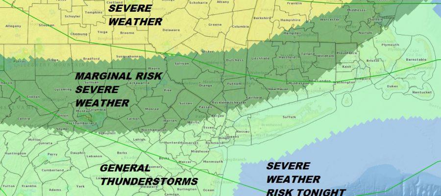 Severe Weather Risk Northern NJ, Hudson Valley NE PA