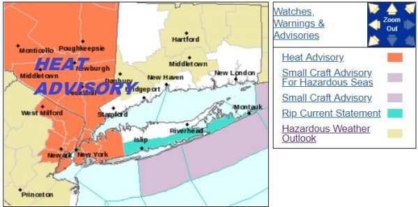 Heatwave Day 1 Heat Advisory NYC Hudson Valley NNE New Jersey