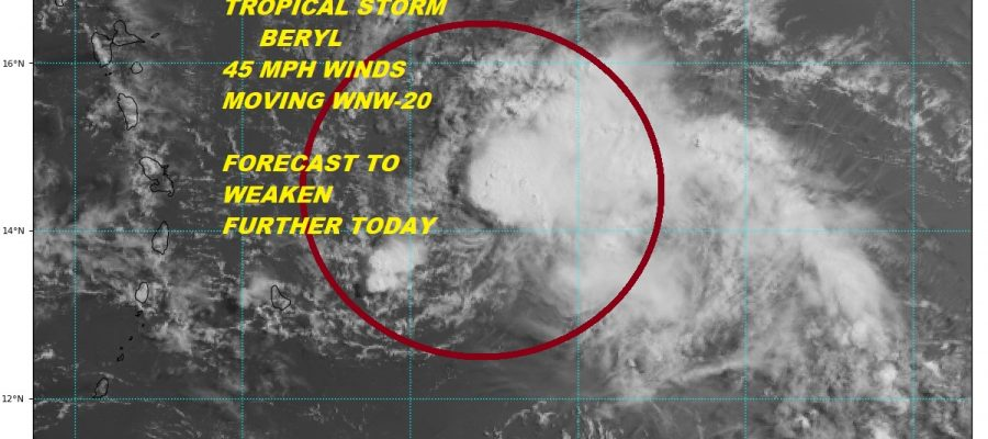 Tropical Storm Beryl Disorganized Weakening Warnings Leeward Islands