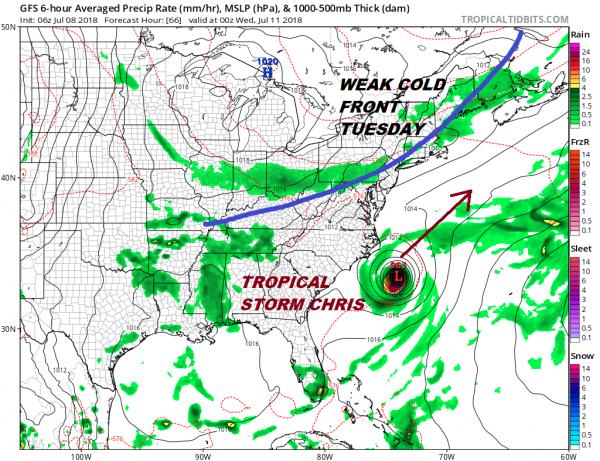 Tropical Storm Chris 40 Mph Forecast Hurricane Tuesday
