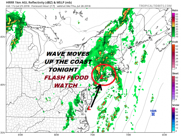 Flash Flood Watch Continues. Low Pressure Moves Up Coast Tonight