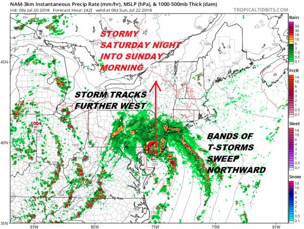 Strong Coastal Low Heads Northward Stormy Saturday Night