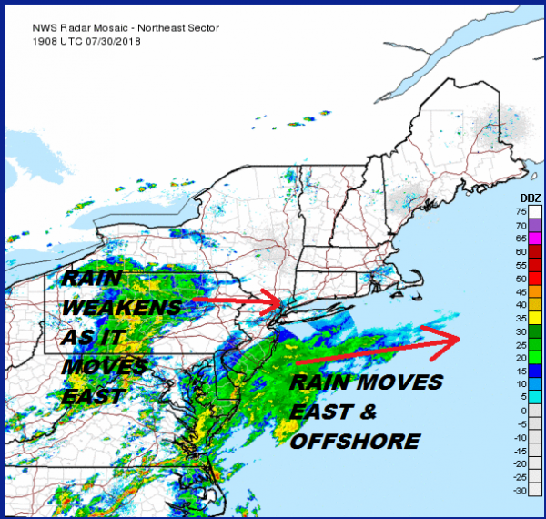 Rain Coastal New Jersey Moving East Warm Humid Week