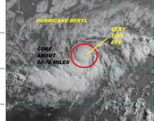 Hurricane Beryl 75 MPH Winds Moving Westward