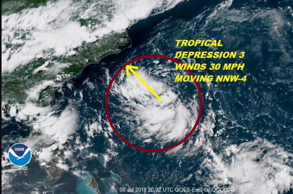 Tropical Depression Forms Southeast North Carolina