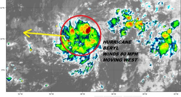 Hurricane Tropical Storm Watches Posted Leeward Islands Beryl 80 MPH Winds