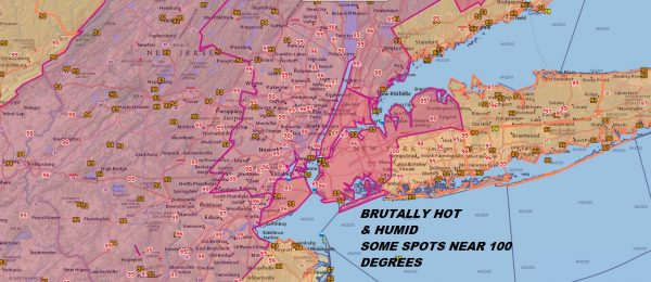 Brutally Hot Humid 95-100 Highs Being Reached