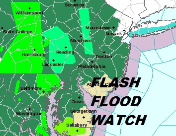 Flash Flood Watch Expanded Across Most of New Jersey