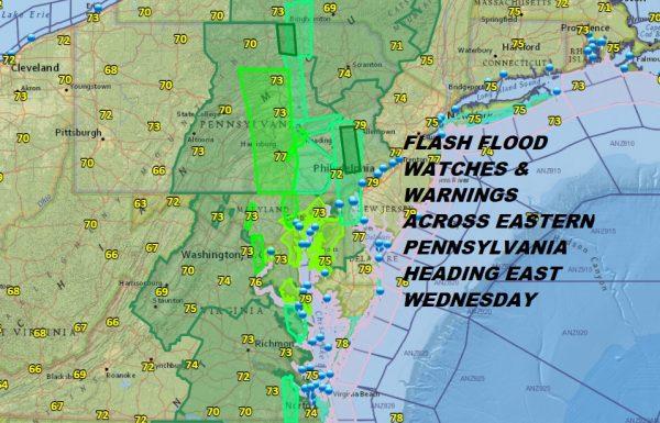 Eastern Pennsylvania Flash Flooding Moving East Wednesday