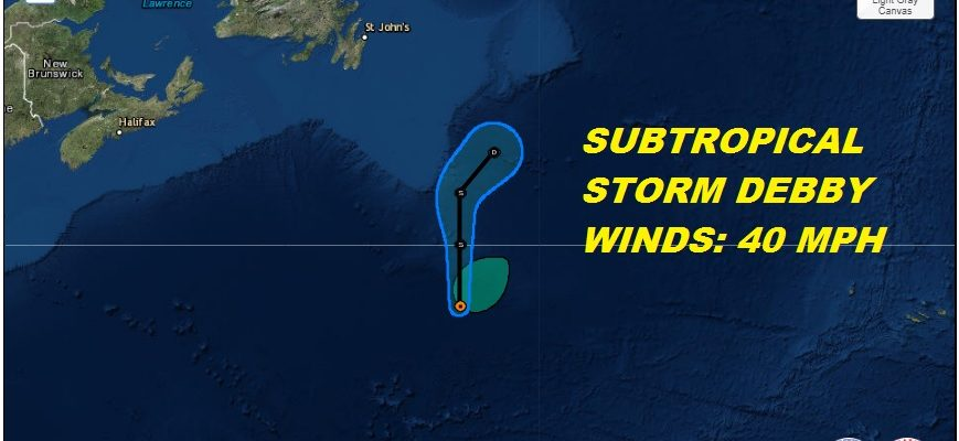 Subtropical Storm Debby Forms Central Atlantic