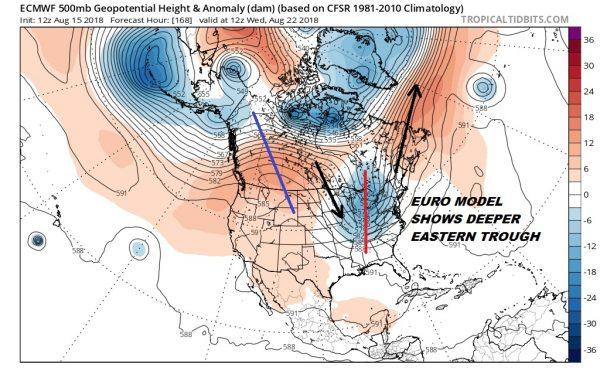 Eastern Troughs Dominate Weather Pattern Next Week