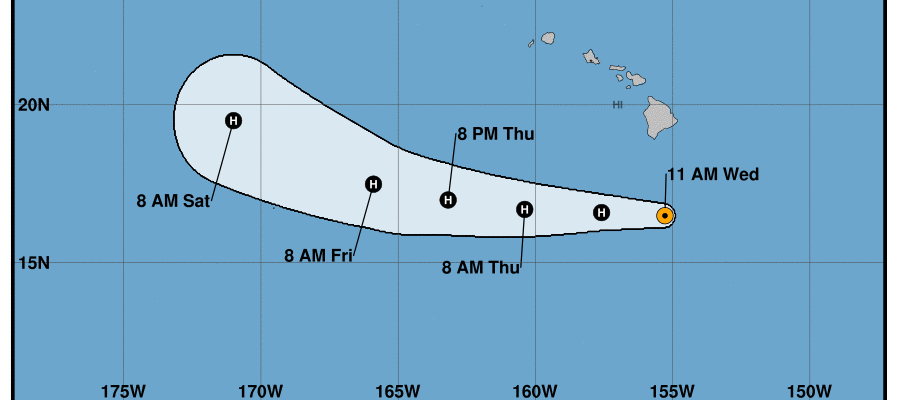 ...MAJOR HURRICANE HECTOR PASSING SOUTH OF THE BIG ISLAND... SUMMARY OF 1100 AM HST...2100 UTC...INFORMATION ----------------------------------------------- LOCATION...16.5N 155.3W ABOUT 220 MI...355 KM S OF HILO HAWAII ABOUT 370 MI...600 KM SSE OF HONOLULU HAWAII MAXIMUM SUSTAINED WINDS...115 MPH...185 KM/H PRESENT MOVEMENT...W OR 270 DEGREES AT 16 MPH...26 KM/H MINIMUM CENTRAL PRESSURE...959 MB...28.32 INCHES WATCHES AND WARNINGS -------------------- CHANGES WITH THIS ADVISORY: The Tropical Storm Warning for Hawaii County has been discontinued. SUMMARY OF WATCHES AND WARNINGS IN EFFECT: None. Interests on Johnston Island should monitor the progress of Hector. DISCUSSION AND OUTLOOK ---------------------- At 1100 AM HST (2100 UTC), the center of Hurricane Hector was located near latitude 16.5 North, longitude 155.3 West. Hector is moving toward the west near 16 mph (26 km/h) and this general motion is expected to continue through Thursday, with a gradual turn toward the northwest expected Friday and Saturday. Maximum sustained winds are near 115 mph (185 km/h) with higher gusts. Hector is a category 3 hurricane on the Saffir-Simpson Hurricane Wind Scale. Slight weakening is forecast during the next couple of days. Hurricane-force winds extend outward up to 35 miles (55 km) from the center and tropical-storm-force winds extend outward up to 90 miles (150 km). The estimated minimum central pressure is 959 mb (28.32 inches). HAZARDS AFFECTING LAND ---------------------- SURF: Swells generated by Hector will bring large and dangerous surf to portions of the main Hawaiian islands through tonight. NEXT ADVISORY ------------- Next complete advisory at 500 PM HST.