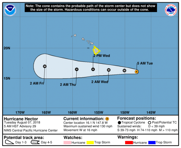Hurricane Hector 130 MPH WINDS Heads West Tropical Storm Watch Big Island of Hawaii