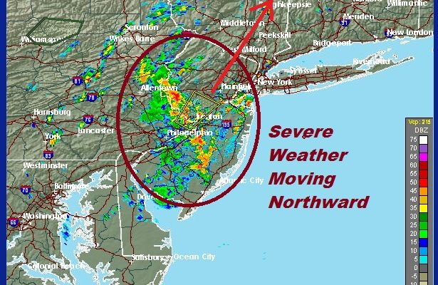 Severe Thunderstorms Moving Northward New Jersey