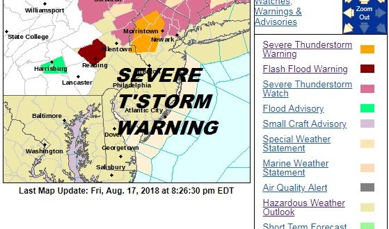 Severe Thunderstorms Moving Across Northern New Jersey