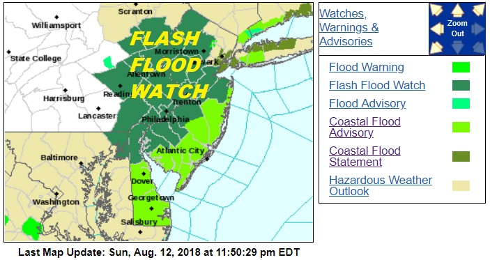 Flash Flood Watch Most of New Jersey Rains Moving North