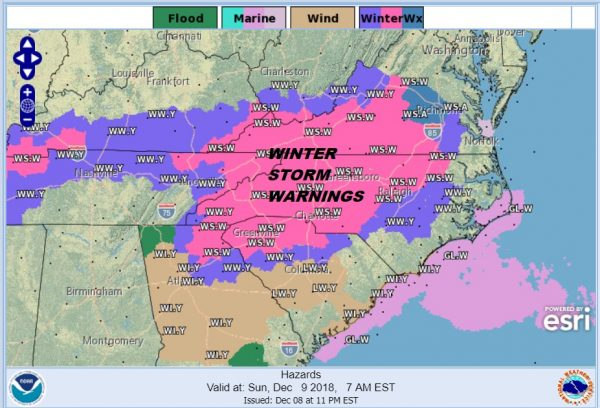 ssouthern snow storm now winter storm warnings