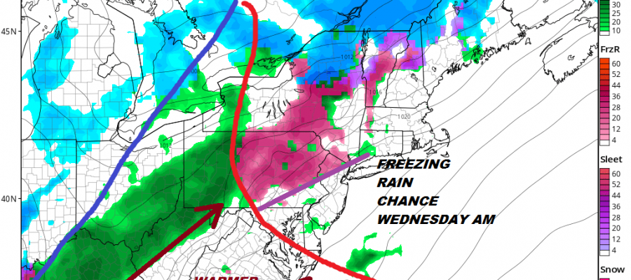 Freezing Rain Chance Wednesday Morning Inland