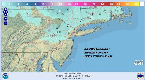 Cold Night Dry Cold Monday Burst of Snow Sleet Monday Night Tuesday Morning Inland