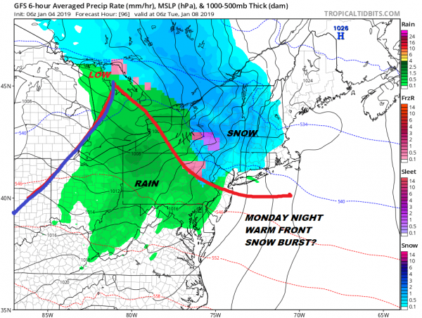 Rain Saturday Dry Sunday Warm Front Snow Rain Late Monday