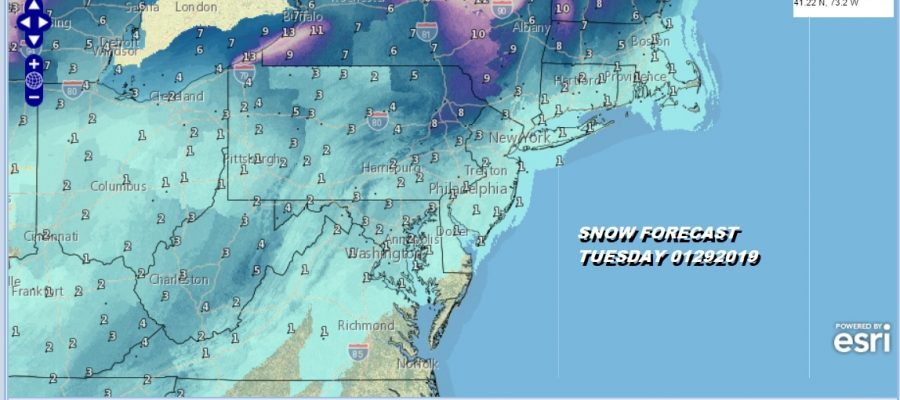 SNOW FORECAST TUESDAY 01292019