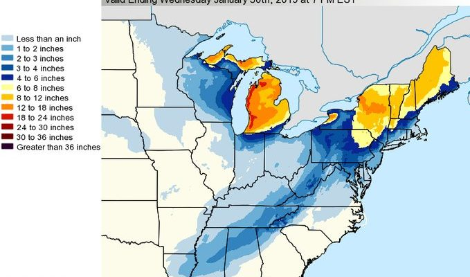 Snow Forecast Maps National Weather Service Updated 01282019 ...