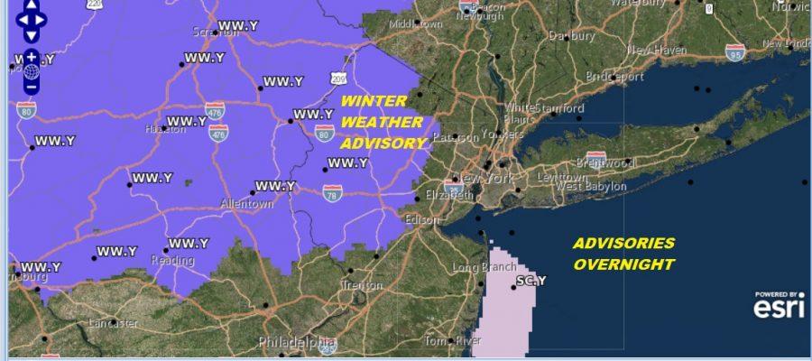Winter Weather Advisories New Jersey Eastern Pennsylvania