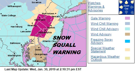 Snow Sqaull Warning South Jersey East & Southeast Pennsylvania