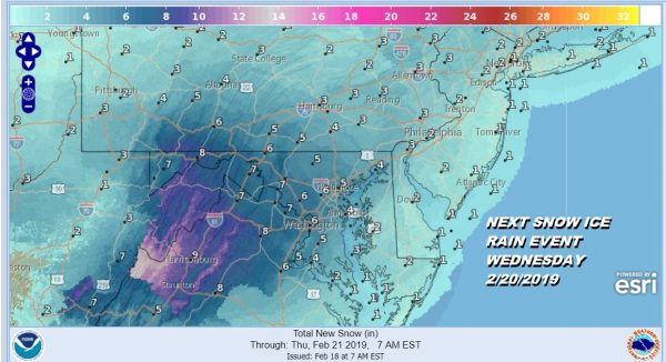 NEXT SNOW ICE RAIN EVENT WEDNESDAY 2/20/2019